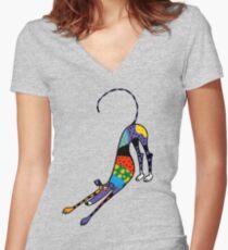 Camiseta entallada de cuello en V Caleidoscopio Bowdown
