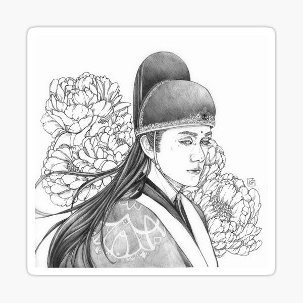 Jin Guangyao mit Blumen in Schwarz-Weiß Sticker