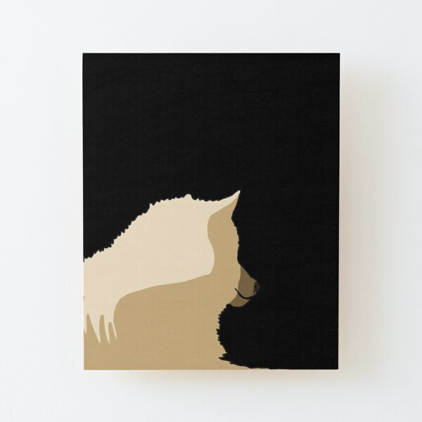 White wolf relaxing - black background Wood Mounted Print