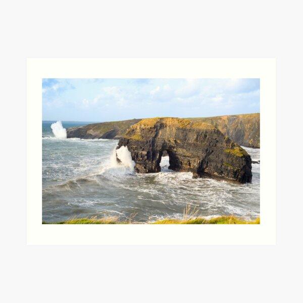 sepia virgin rocks with giant storm waves Art Print