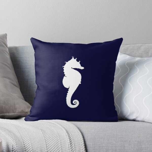 White Seahorse On Navy Blue Throw Pillow