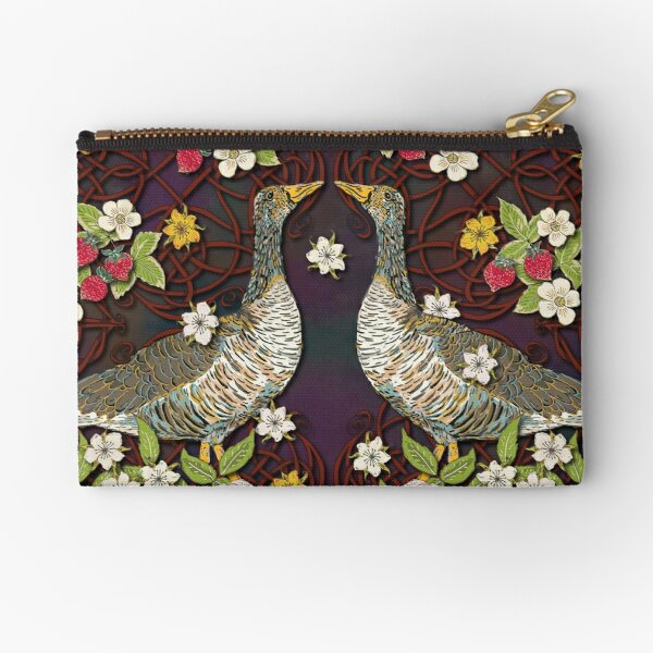 Celtic Geese with Summer Strawberries Zipper Pouch