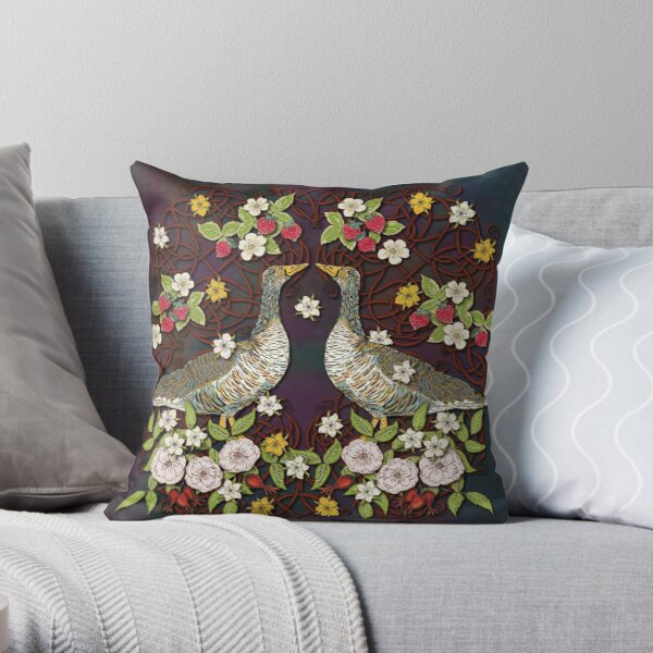 Celtic Geese with Summer Strawberries Throw Pillow