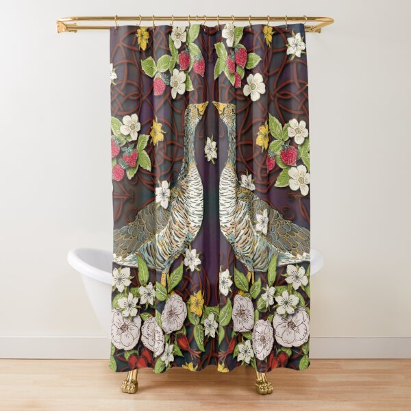 Celtic Geese with Summer Strawberries Shower Curtain