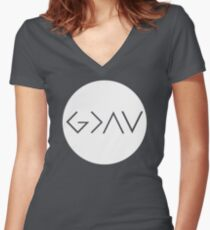God Is Greater Than the Highs and Lows Women's Fitted V-Neck T-Shirt