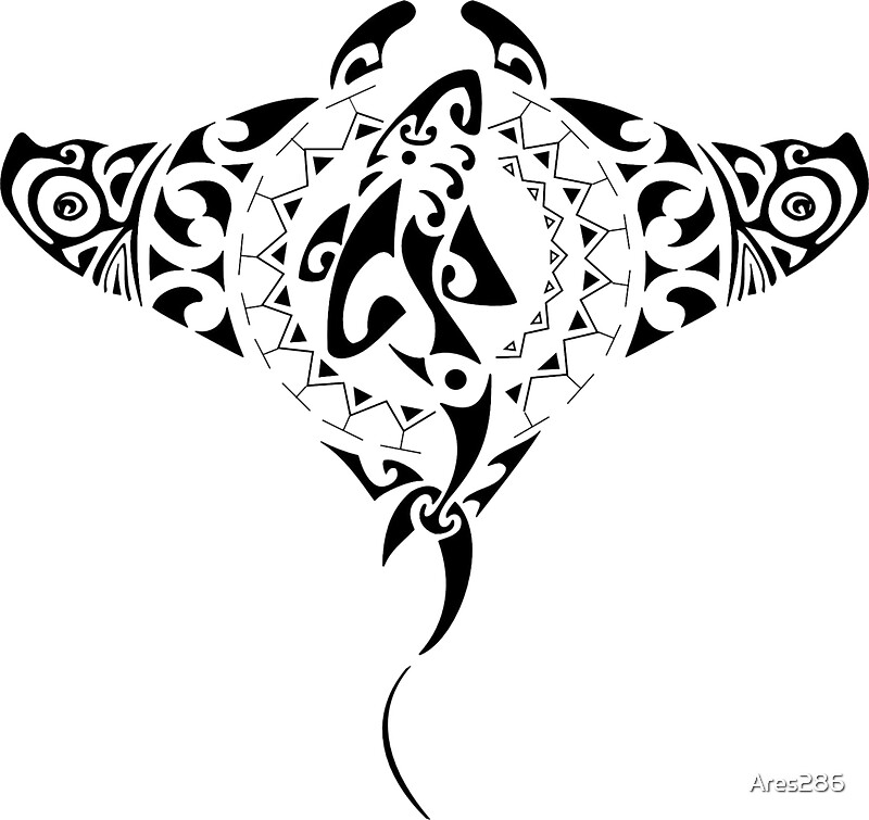 tribal manta ray shark stickers by ares286 redbubble. Black Bedroom Furniture Sets. Home Design Ideas