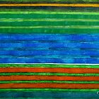 Horizontal Stripes In Red Blue Green by Heidi Capitaine