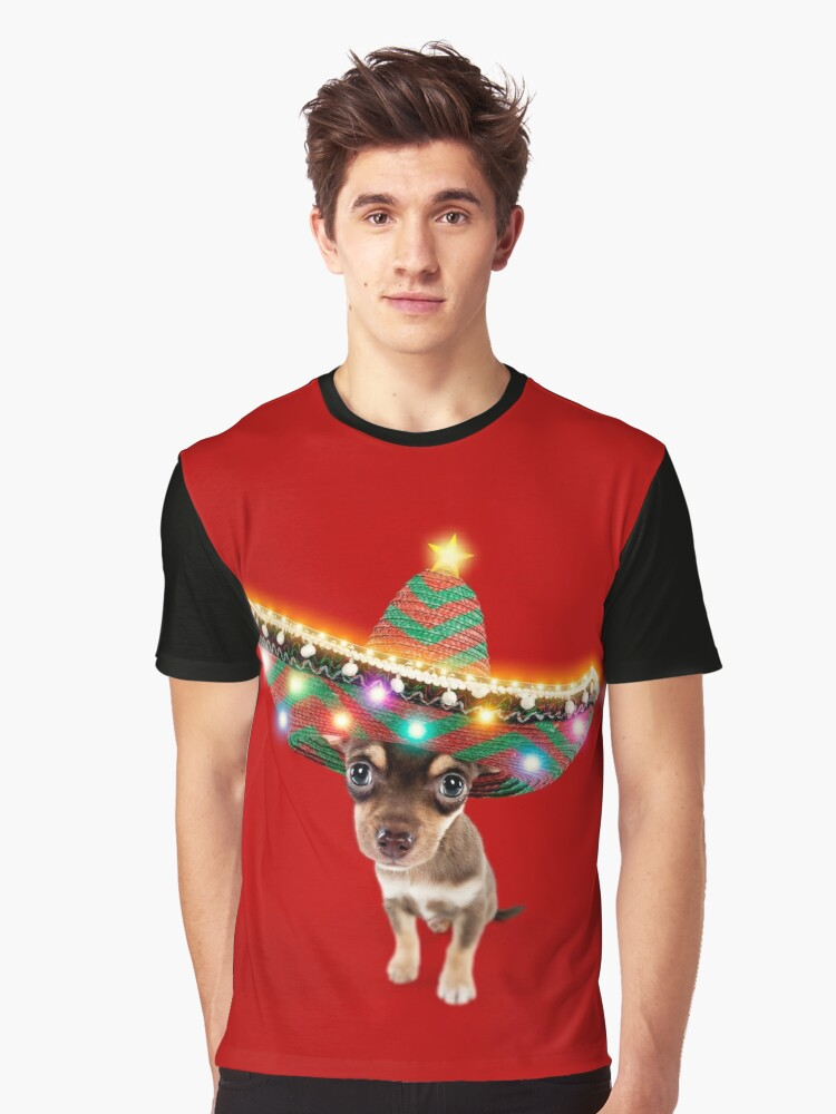 83fa260072252 Chihuahua dog wearing a sombrero hat with Christmas lights Graphic T-Shirt