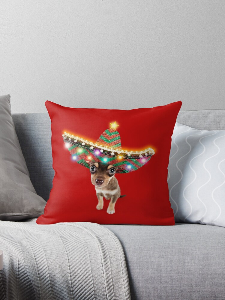 8f555809d6402 Chihuahua dog wearing a sombrero hat with Christmas lights
