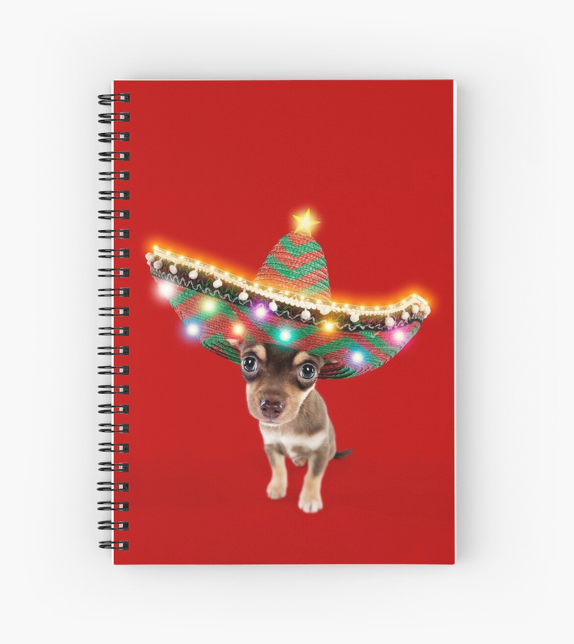 2e2a48f21184e Chihuahua dog wearing a sombrero hat with Christmas lights