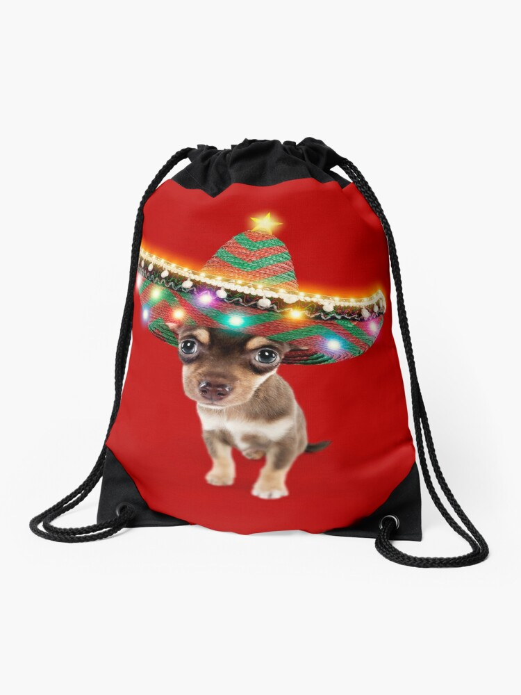 0d8ce5fe4bca6 Chihuahua dog wearing a sombrero hat with Christmas lights Drawstring Bag