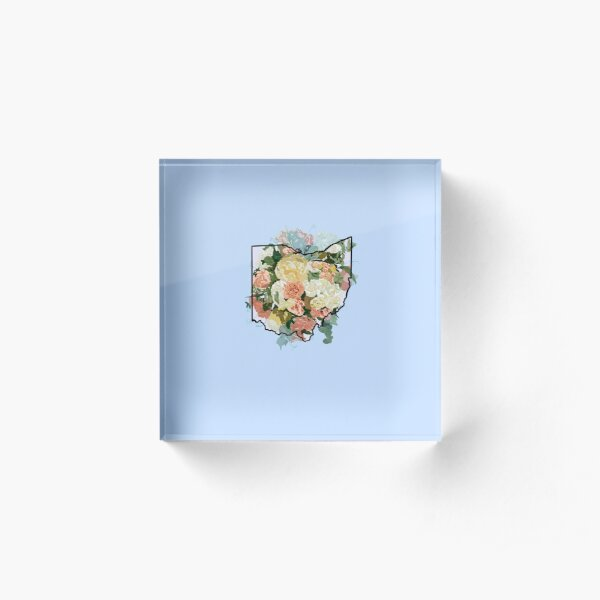 Ohio home outline filled with the state flower, red carnations  Acrylic Block