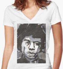 Jimi Hendrix Rock and Roll Merch Women's Fitted V-Neck T-Shirt