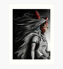 Mononoke Wolf Anime Tra Digital Painting Art Print