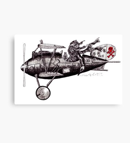 Funny crazy pilot on vintage plane. Black and white pen ink drawing Canvas Print