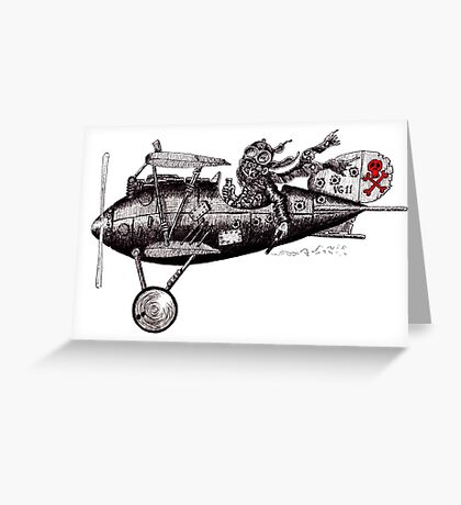 Funny crazy pilot on vintage plane. Black and white pen ink drawing Greeting Card