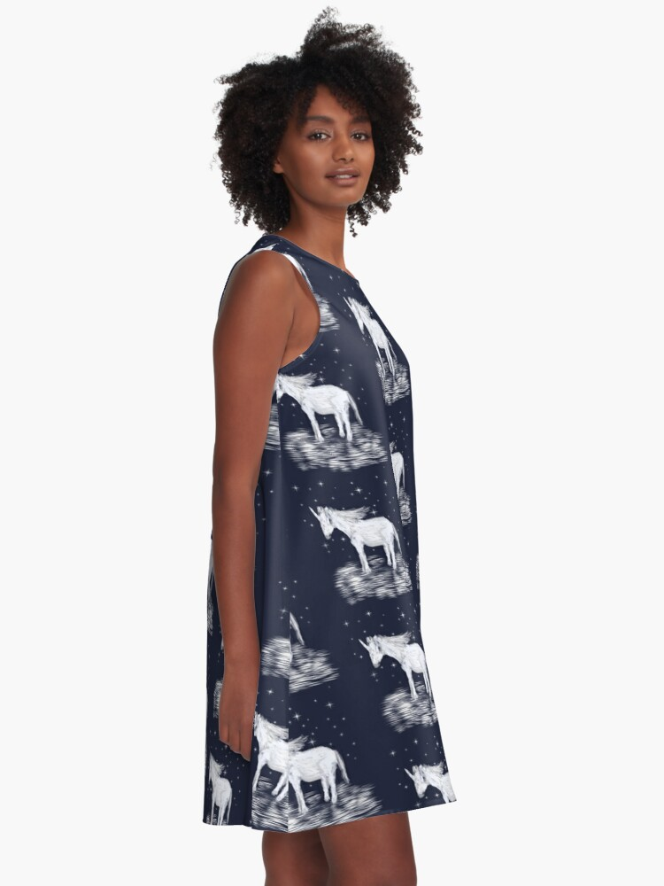 Alternate view of Whimsical Unicorn and Stars Design A-Line Dress