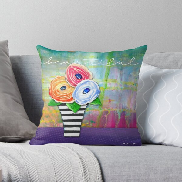 """Beautiful"" Original Design by PhillipaheART Throw Pillow"