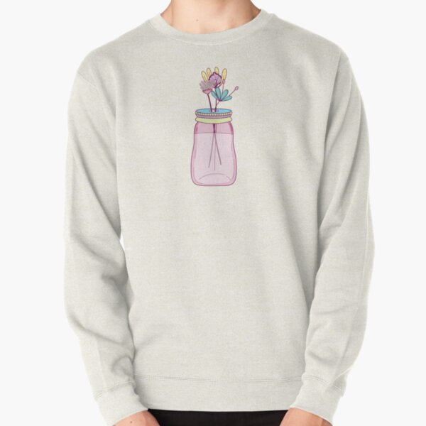 Mason Jar With Flowers Pullover Sweatshirt