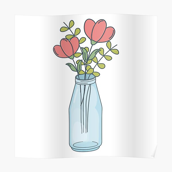 Mason Jar With Flowers Poster