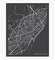 Barcelona Map, Spain - Gray Photographic Print