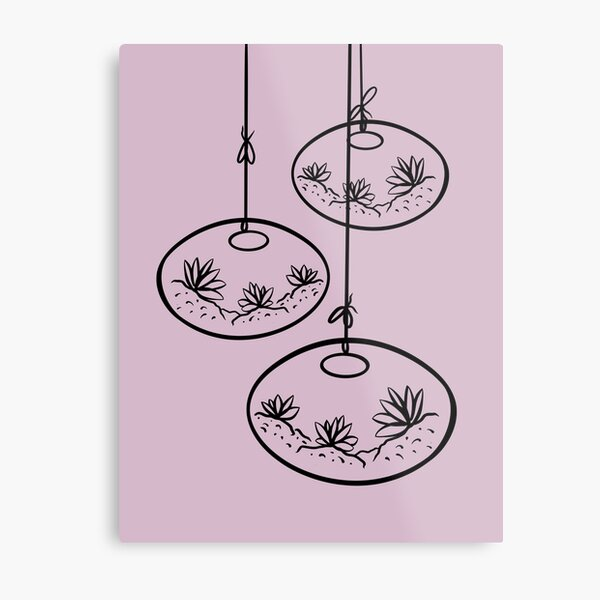 Flowerpot Pink Background Metal Print