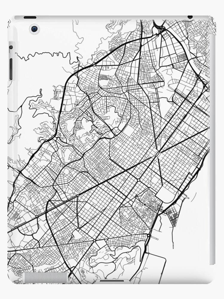 Carte Espagne Noir Et Blanc.Coque Et Skin Adhesive Ipad Carte De Barcelone Espagne Noir Et Blanc Par Mainstreetmaps
