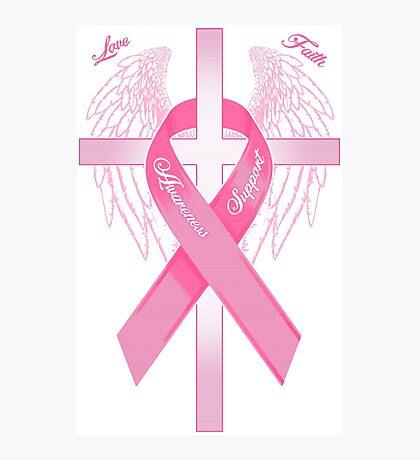 Pink Awareness Ribbon on the Cross Photographic Print