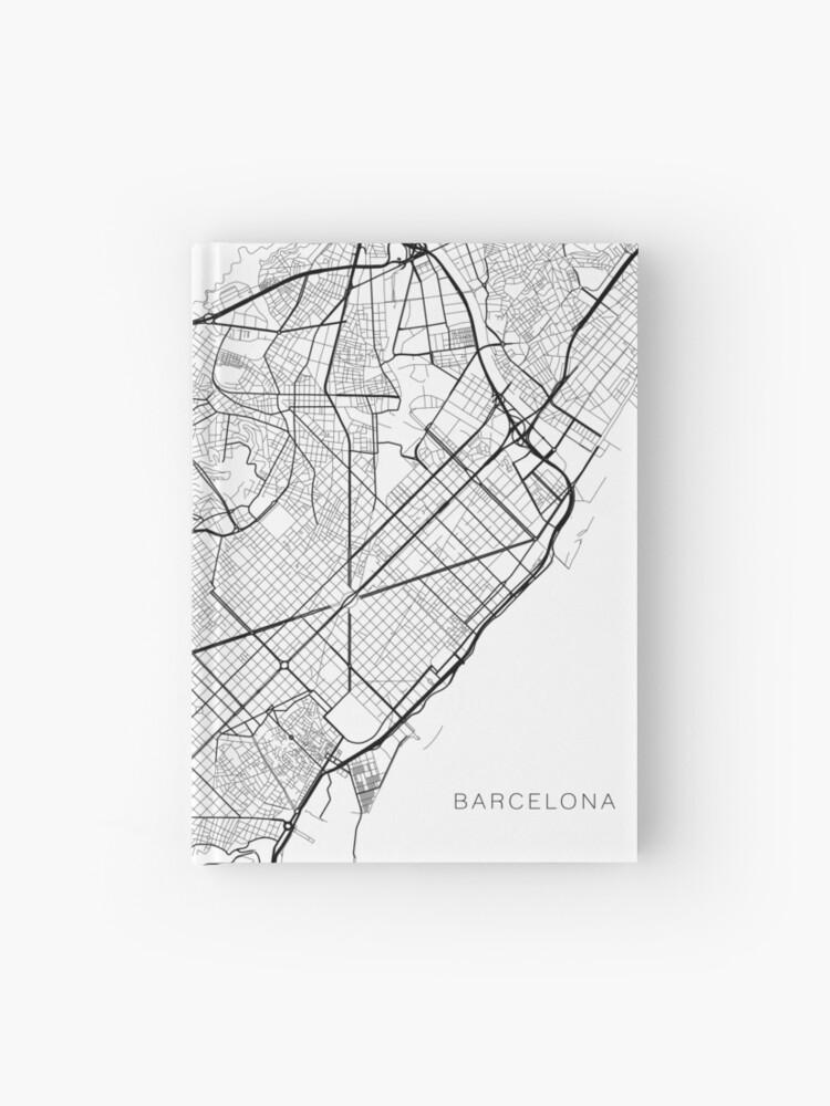 Spanien Karte Schwarz Weiß.Barcelona Karte Spanien Schwarz Und Weiß Notizbuch