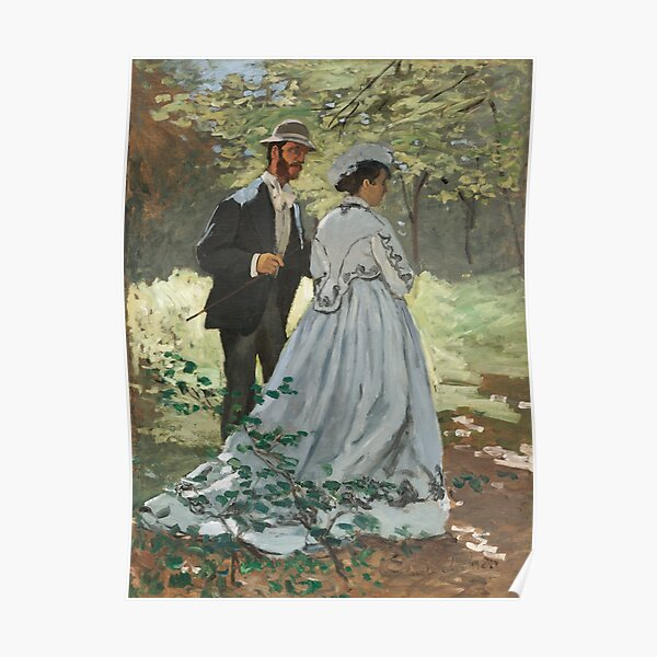 Impressionist Painting Bazille and Camille (1865) by Claude Monet Poster
