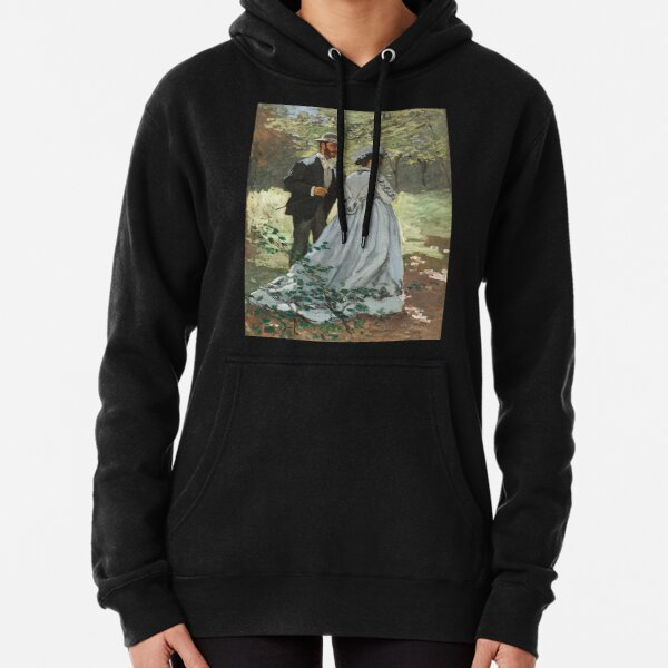 Impressionist Painting Bazille and Camille (1865) by Claude Monet Pullover Hoodie