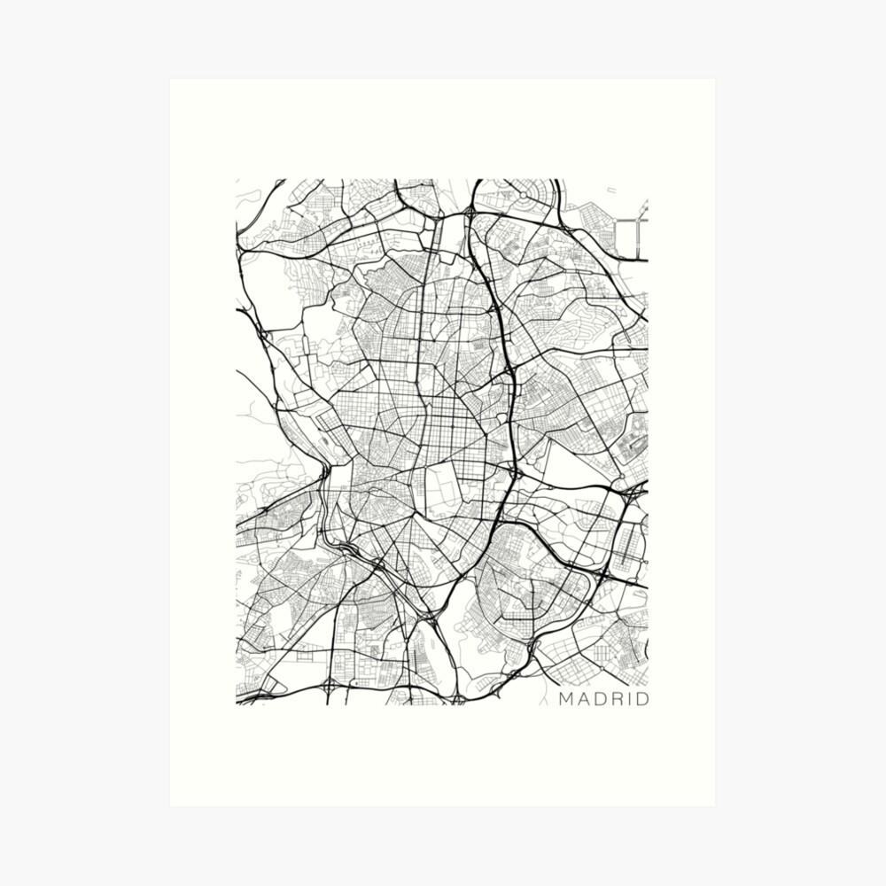 Madrid Map, Spanien - Schwarz und Weiß Kunstdruck