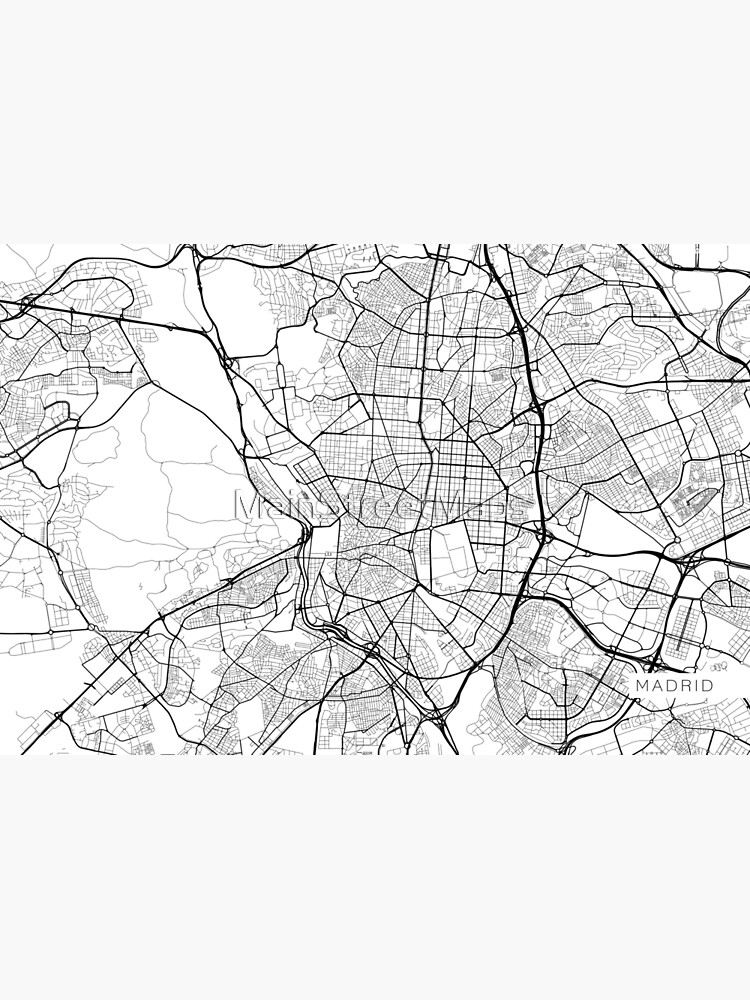 Madrid Map, Spanien - Schwarz und Weiß von MainStreetMaps