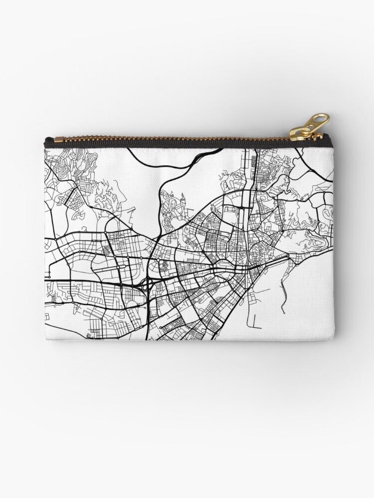 Carte Espagne Noir Et Blanc.Pochette Carte De Malaga Espagne Noir Et Blanc Par Mainstreetmaps