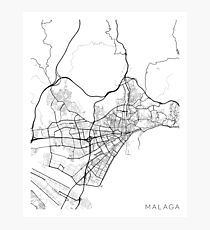 Malaga Map, Spain - Black and White Photographic Print