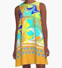 yellow, gold, aqua, blue mod swirl with sweet flower trim A-Line Dress