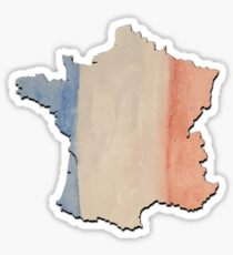 3D France Country Outline in Tricolor Flag Colors Sticker