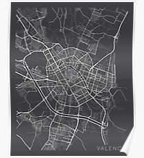Póster Mapa de Valencia, España - Gris