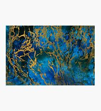 Teal Gold Marble Photographic Print