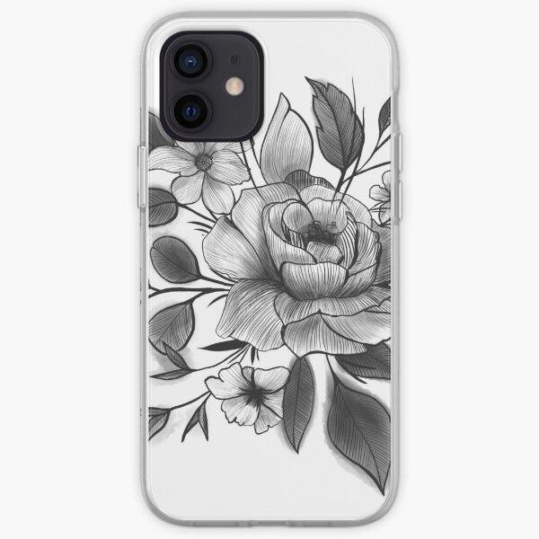 Peony Black Lines iPhone Soft Case