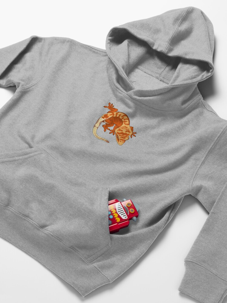 Alternate view of Super Tiger Crested Gecko Kids Pullover Hoodie