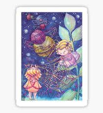 Rainbow Knitting Fairy Sticker