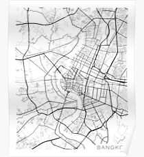 Bangkok Map, Thailand - Black and White Poster