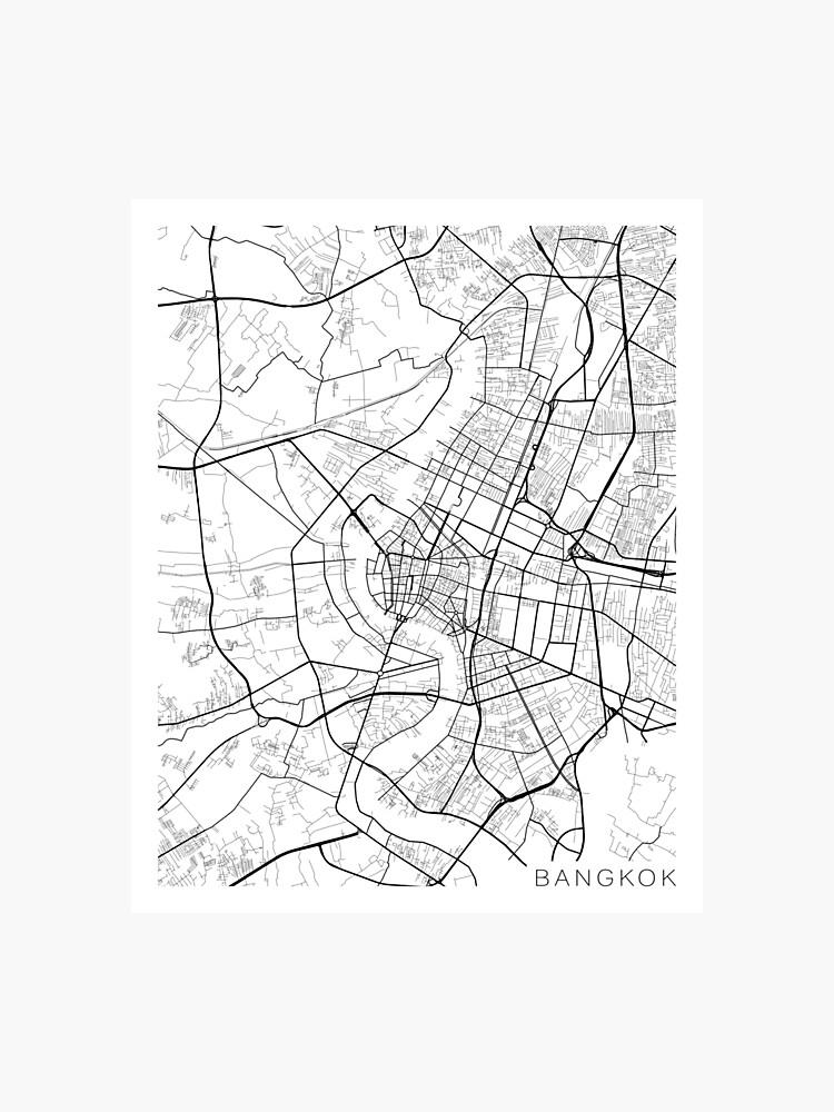 Carte Thailande Noir Et Blanc.Carte De Bangkok Thailande Noir Et Blanc Impression Photo