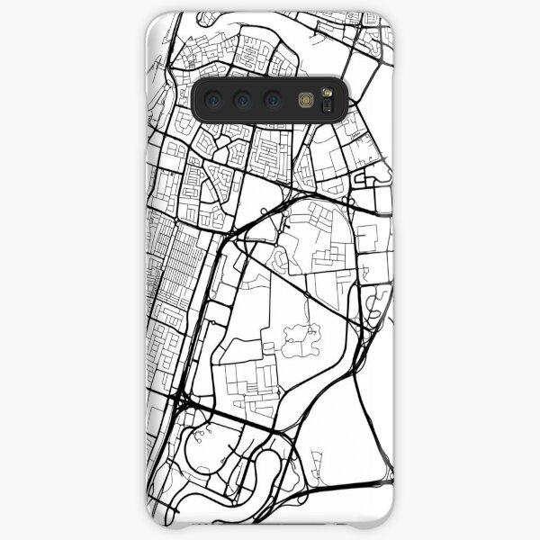 Dubai Map, Vereinigte Arabische Emirate - Schwarz und Weiß Samsung Galaxy Leichte Hülle