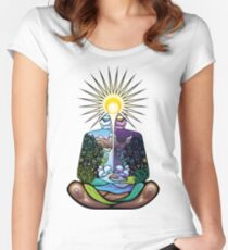 Psychedelic meditating Nature-man Women's Fitted Scoop T-Shirt
