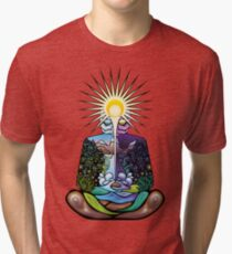 Psychedelic meditating Nature-man Tri-blend T-Shirt