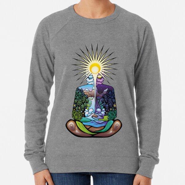 Psychedelic meditating Nature-man Lightweight Sweatshirt