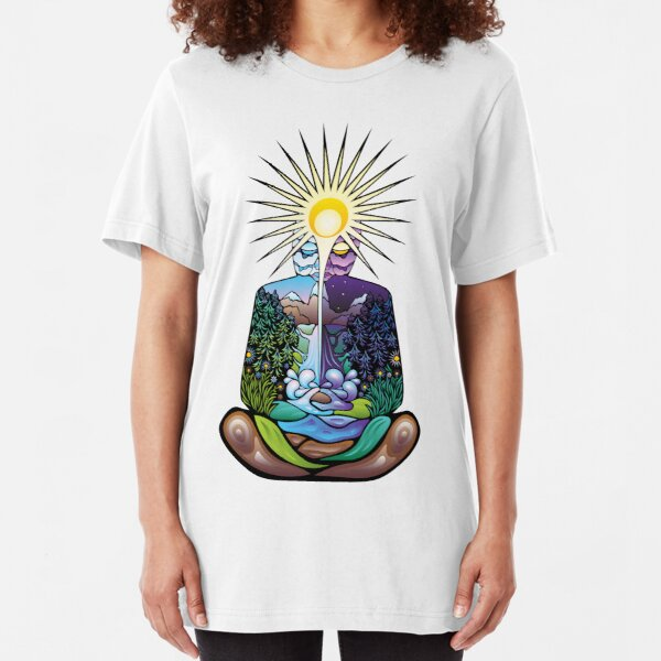 Psychedelic meditating Nature-man Slim Fit T-Shirt