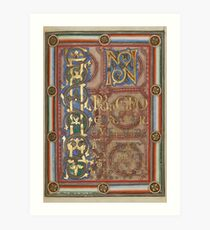 Decorated Incipit Page - Opening of Saint John's Gospel (1120 - 1140 AD) Art Print